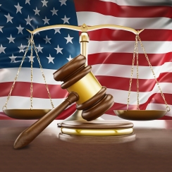 Gavel and flag